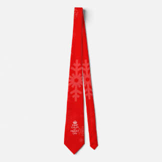 Keep Calm And Merry On Red Neck Tie