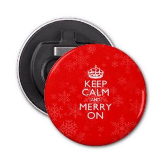 Keep Calm And Merry On Red Snowflakes