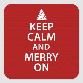 Keep Calm and Merry On Square Sticker