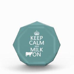 Small Acrylic Octagon Award with Keep Calm and Milk On design