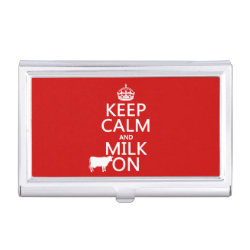 Business Card Holder with Keep Calm and Milk On design
