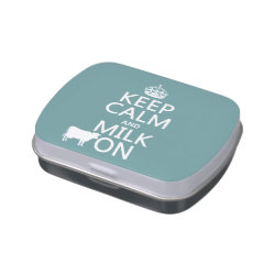 Rectangle Jelly Belly™ Candy Tin with Keep Calm and Milk On design