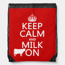 Drawstring Backpack with Keep Calm and Milk On design