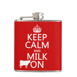 Vinyl Wrapped Flask, 6 oz. with Keep Calm and Milk On design