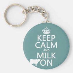 Basic Button Keychain with Keep Calm and Milk On design
