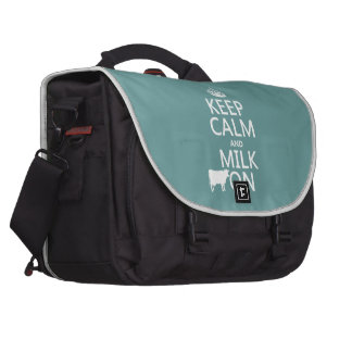 Keep Calm and Milk On (cows) (in all colors) Laptop Bags