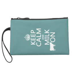 Sueded Mini Clutch with Keep Calm and Milk On design