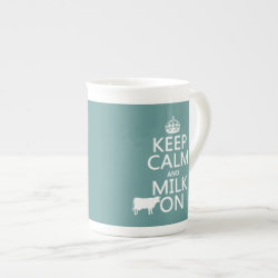 Bone China Mug with Keep Calm and Milk On design