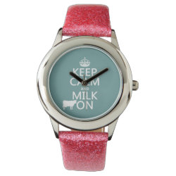 Kid's Pink Glitter Strap Watch with Keep Calm and Milk On design