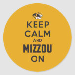 Keep Calm and Mizzou on - Black Classic Round Sticker