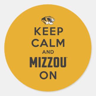 Keep Calm and Mizzou on - Black Round Stickers