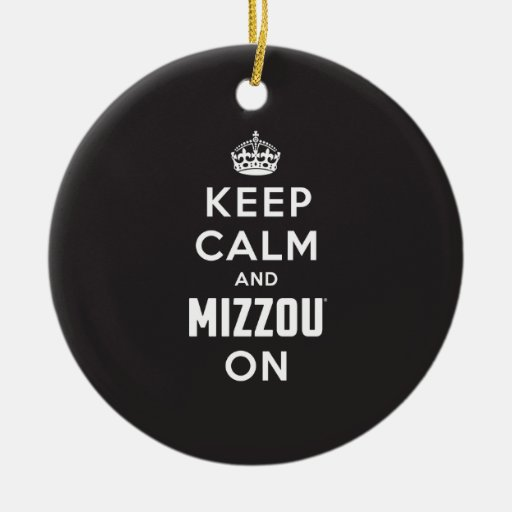 Keep Calm and Mizzou on - White Double-Sided Ceramic Round Christmas Ornament