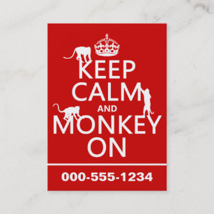 Zoo keeper business cards zazzle keep calm and monkey on all colours business card reheart Choice Image