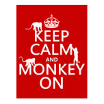 Keep Calm and Monkey On - all colours Postcards