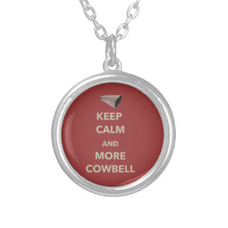 KEEP CALM AND MORE COWBELL SILVER PLATED NECKLACE