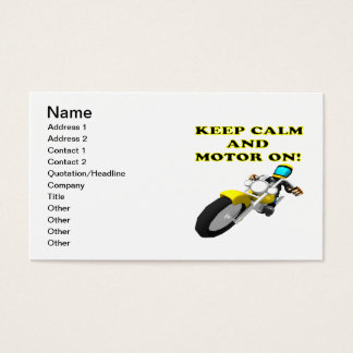 Keep Calm And Motor On Business Card