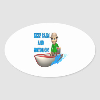 Keep Calm And Motor On Oval Sticker