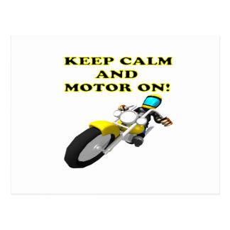 Keep Calm And Motor On Postcard