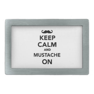 Keep calm and Mustache on Belt Buckles