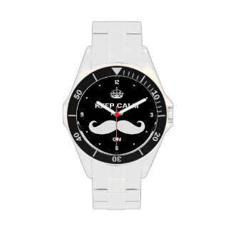 Keep Calm and Mustache on - Retro Black Style Watches