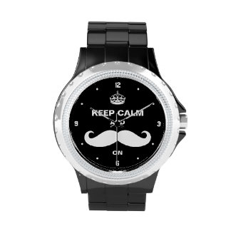 Keep Calm and Mustache on - Retro Black Style Watch