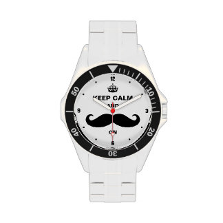 Keep Calm and Mustache on - Retro Funny Style Wrist Watches