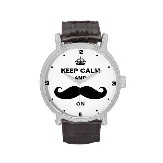 Keep Calm and Mustache on - Retro Funny Style Wristwatches