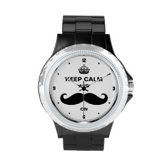 Keep Calm and Mustache on - Retro Funny Style Wristwatch