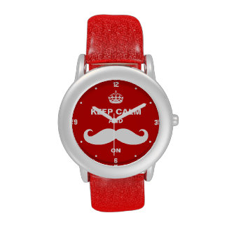 Keep Calm and Mustache on - Retro Red Funny Style Watch