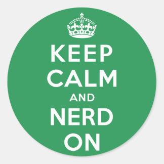 Keep Calm and Nerd On Round Sticker