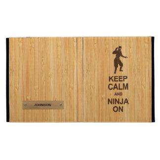 Keep Calm and Ninja on in Bamboo Look iPad Folio Cover