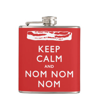 Keep Calm and Nom Nom Nom (Bacon) Hip Flask