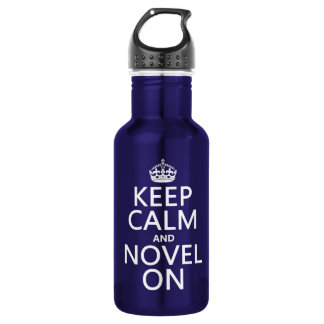 Keep Calm and Novel On 18oz Water Bottle