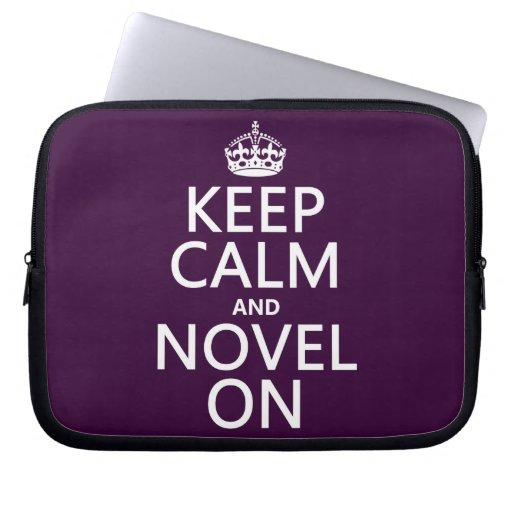 Keep Calm and Novel On Computer Sleeves