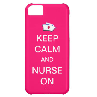 Keep Calm and Nurse On /Bubble Gum Pink iPhone 5C Case