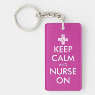 Keep calm and nurse on keychain | Customizable