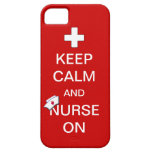 Keep Calm and Nurse On /White Cross and Nurse Cap iPhone 5 Cases
