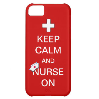 Keep Calm and Nurse On /White Cross and Nurse Cap Cover For iPhone 5C