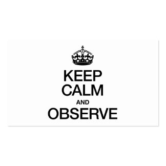KEEP CALM AND OBSERVE Double-Sided STANDARD BUSINESS CARDS (Pack OF 100)