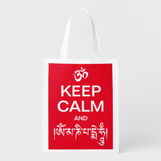 Keep Calm and Om Mani Padme Hum Grocery Bag