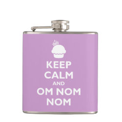 Vinyl Wrapped Flask, 6 oz. with Keep Calm and Om Nom Nom design