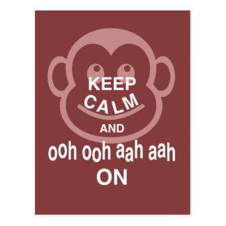Keep Calm and Ooh Ooh Aah Aah On Monkey Art Print Postcard