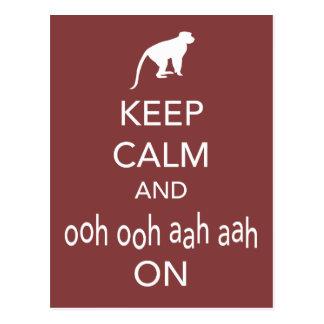 Keep Calm and Ooh Ooh Aah Aah On Monkey design Postcard