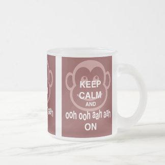 Keep Calm and Ooh Ooh Aah Aah On Monkey Print Frosted Glass Coffee Mug