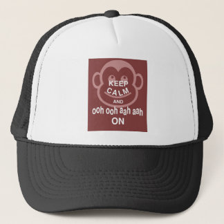 Keep Calm and Ooh Ooh Aah Aah On Monkey Print Fun Trucker Hat