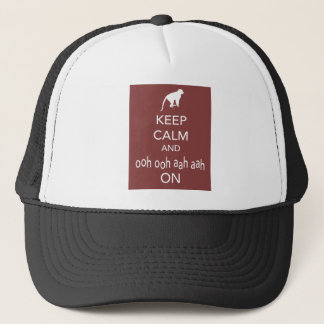 Keep Calm and Ooh Ooh Aah Aah On Monkey Print Trucker Hat