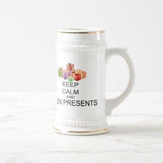 Keep Calm And Open Presents Beer Stein