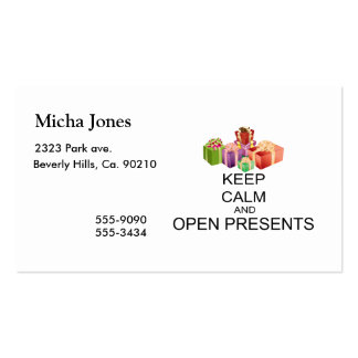 Keep Calm And Open Presents Business Card