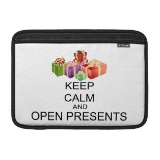 Keep Calm And Open Presents MacBook Sleeve