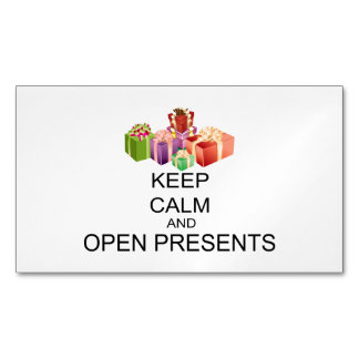 Keep Calm And Open Presents Magnetic Business Card